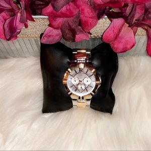 GUESS Silver and Rose Gold Crystal Watch